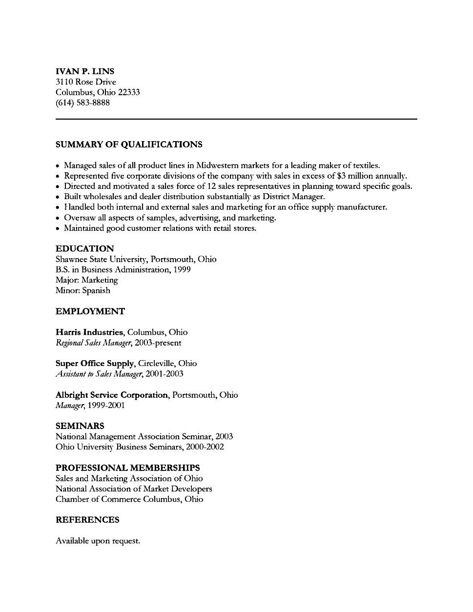 resume of a sales executive