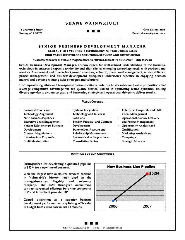 business development resume objective