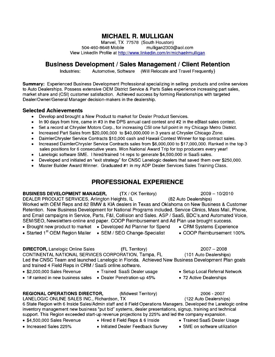 Business Development Executive Resume Pdf Free Samples