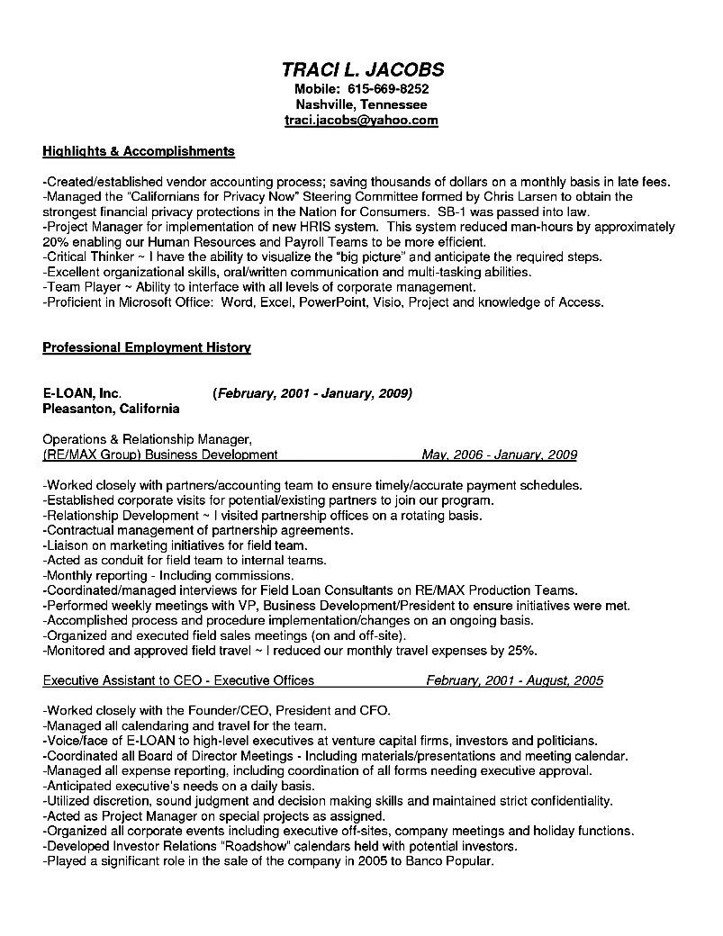 c level executive assistant resume