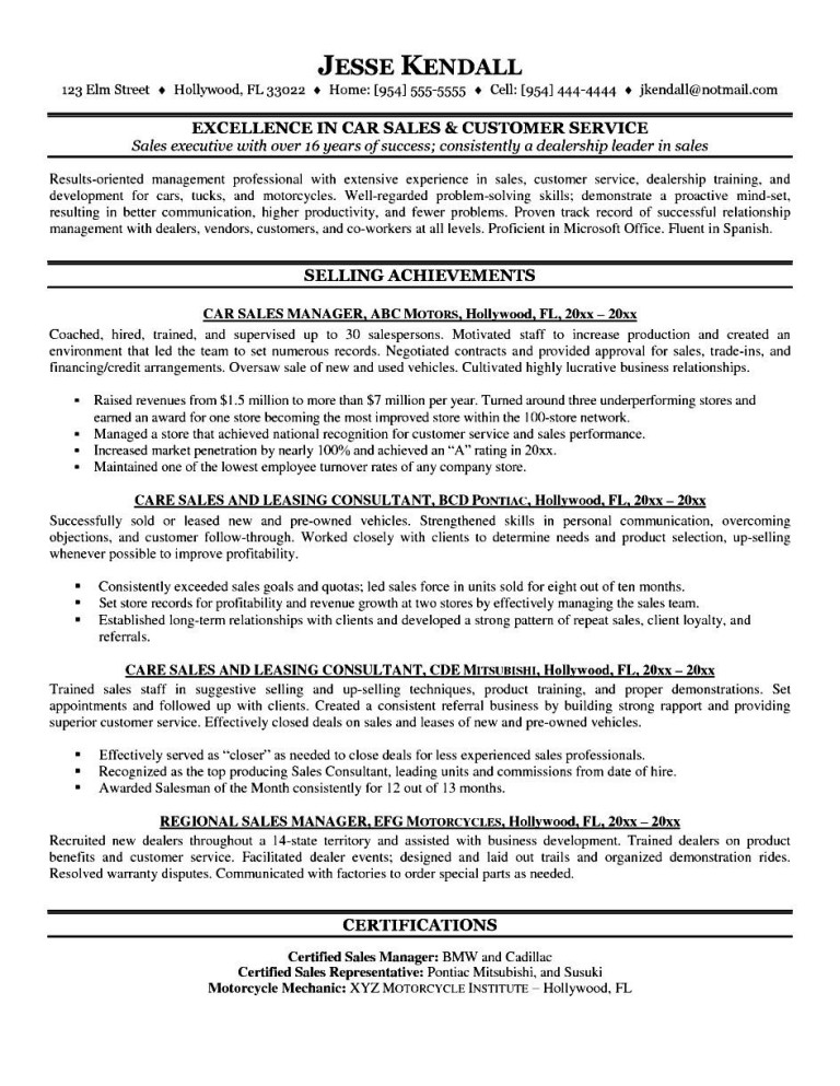 Car Salesman Resume  Customer Service And Sales Resume