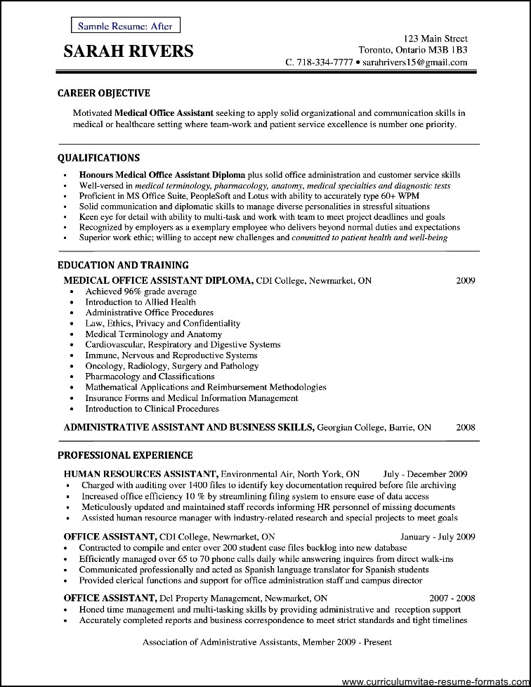 Doctor office resume