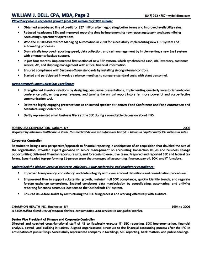 examples of great executive resumes