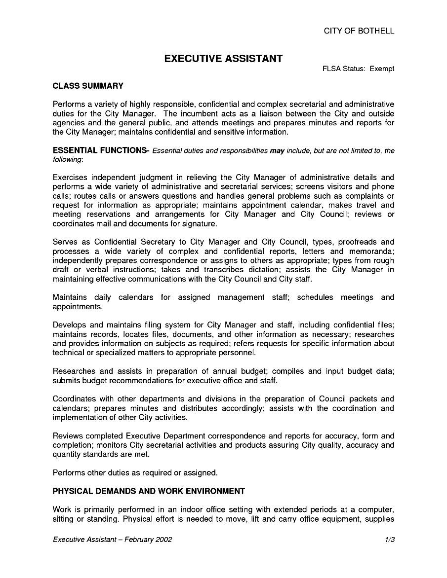 executive assistant job description resume