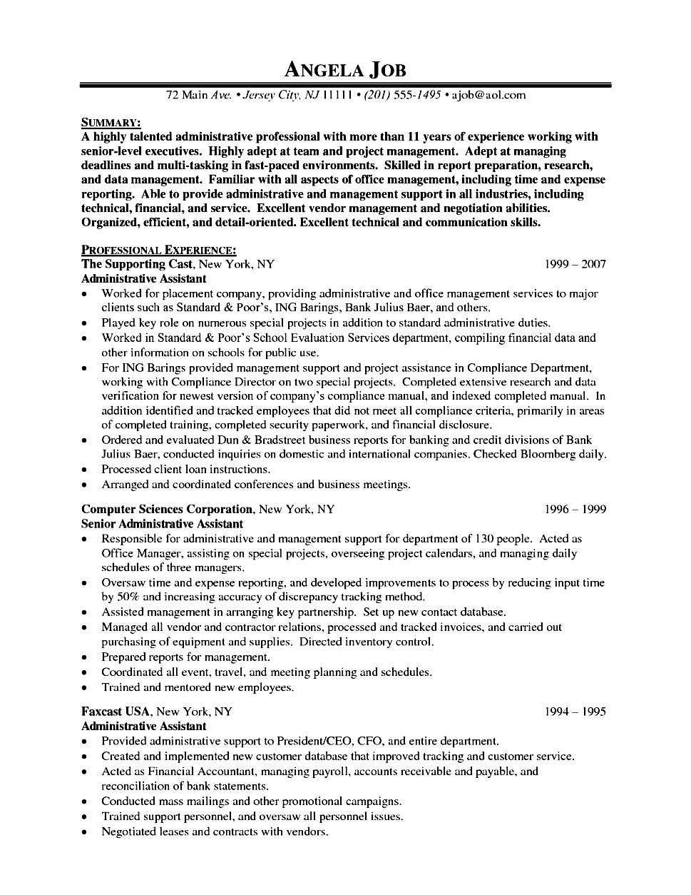 Executive Assistant Resume Bullet Points Free Samples