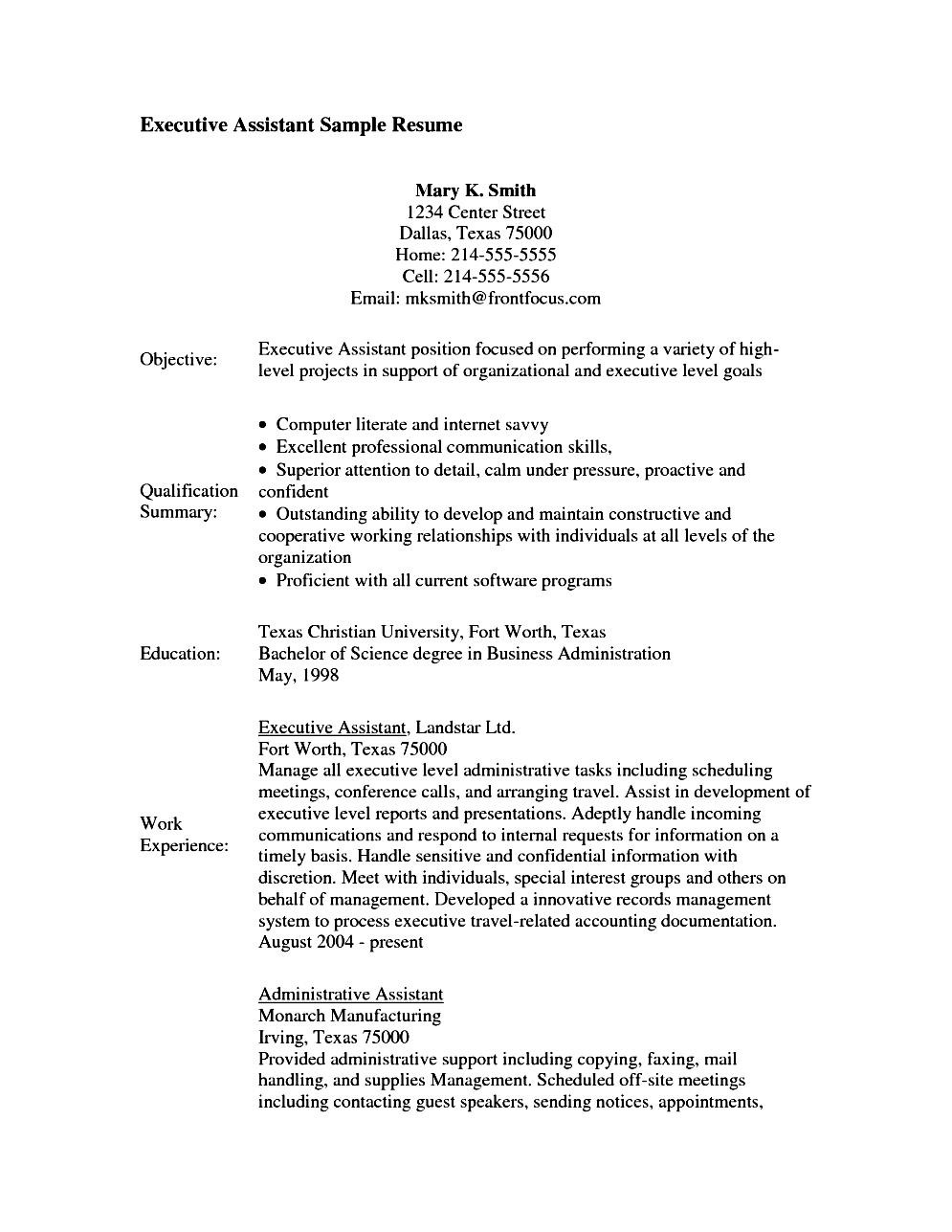 Executive Assistant Resume Objective Free Samples