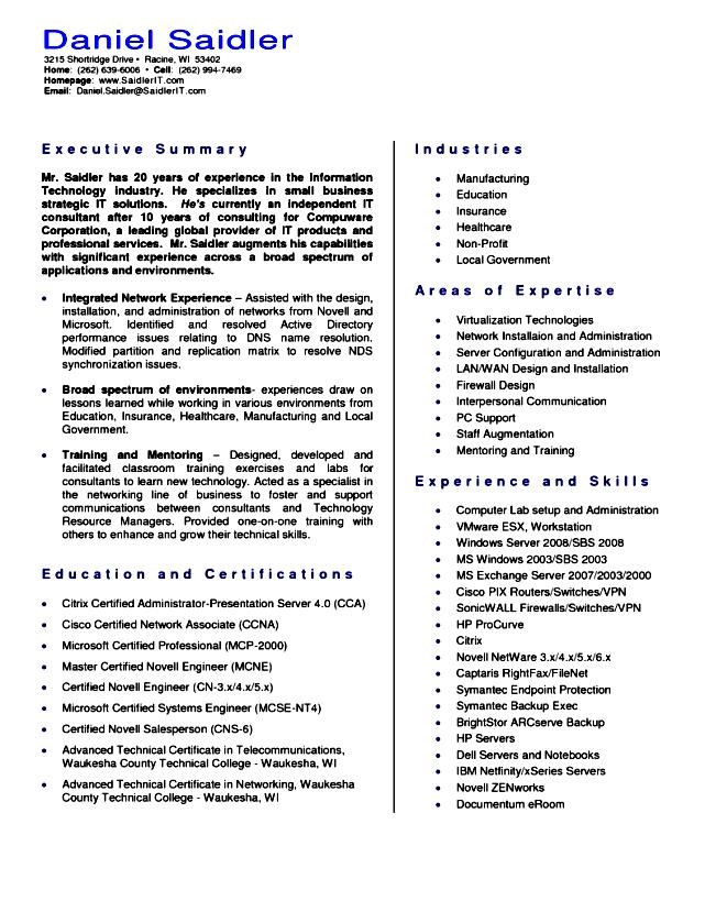 Executive resume help