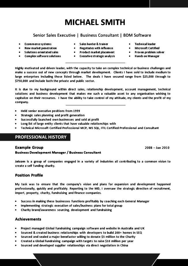executive resume style