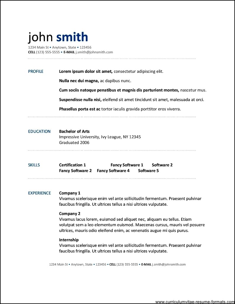 free resume template for openoffice