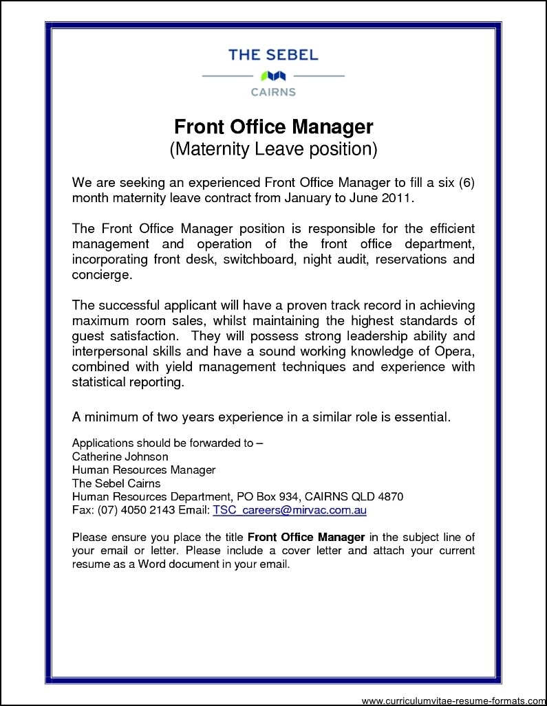 front office manager resume