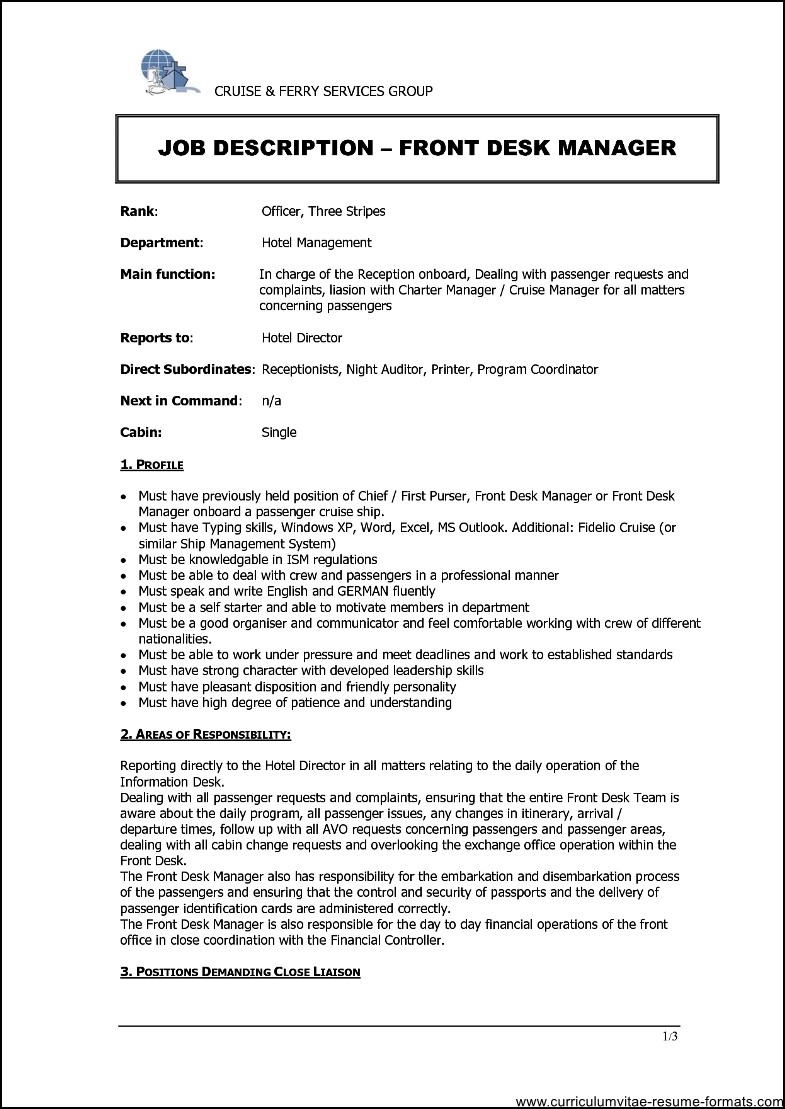 hotel front office manager resume sample  free samples