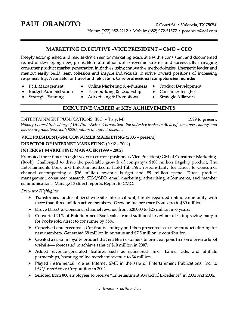 marketing executive resume sample  free samples