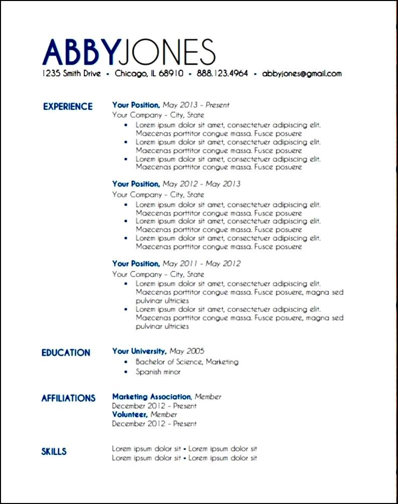 modern resume layout