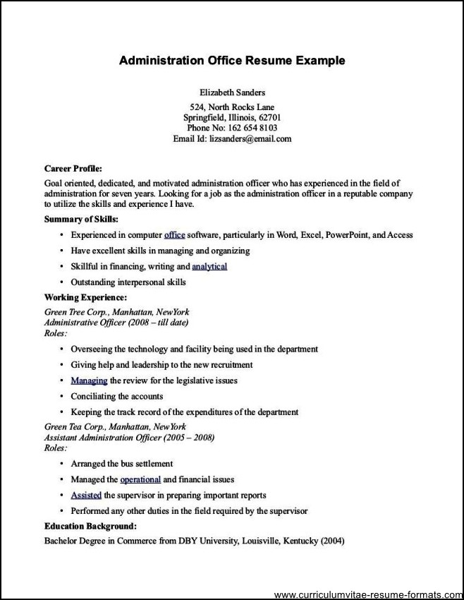 Office Administrator Resume Free Samples Examples