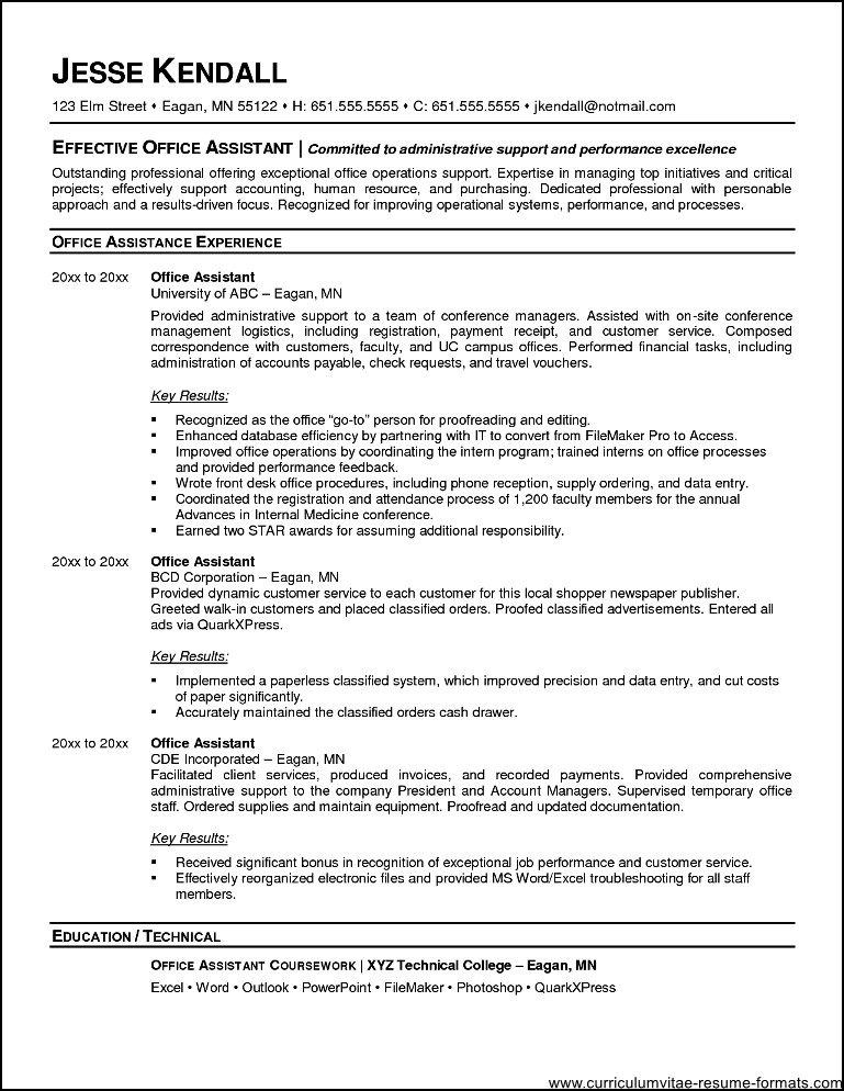 office assistant resume format  free samples  examples