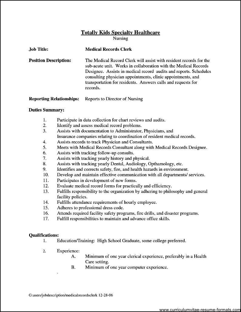 office clerk job description for resume