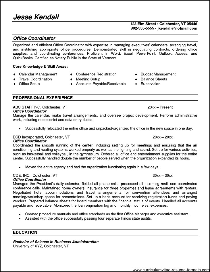 office coordinator resume summary