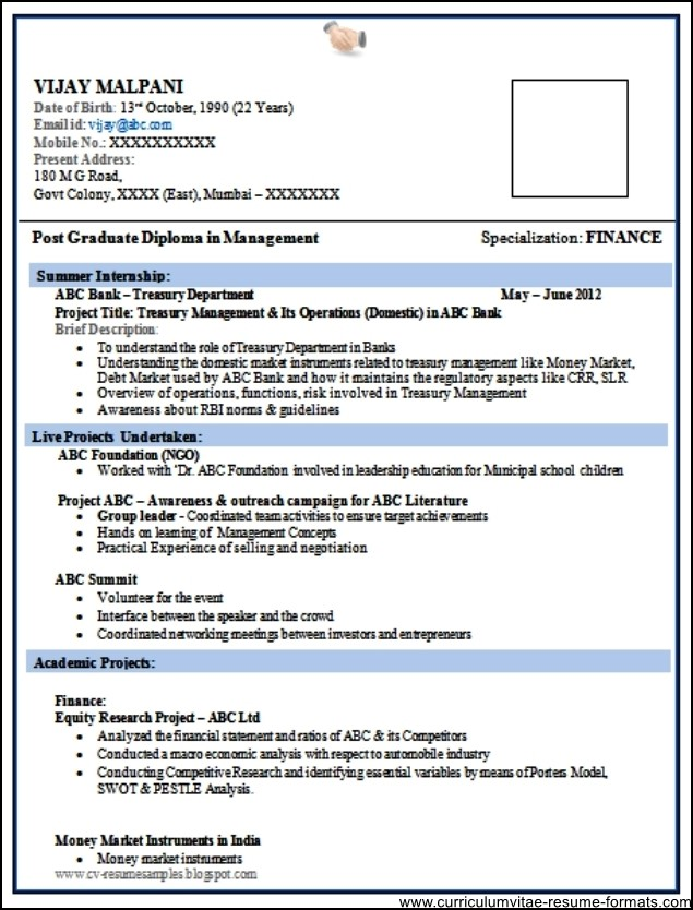 Resume Format In Word Format