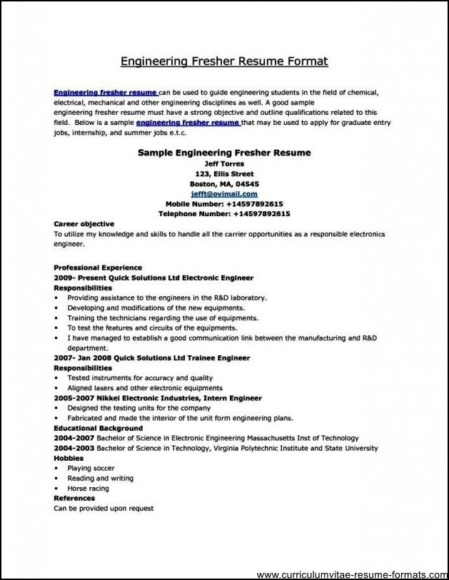 professional resume format for freshers free download