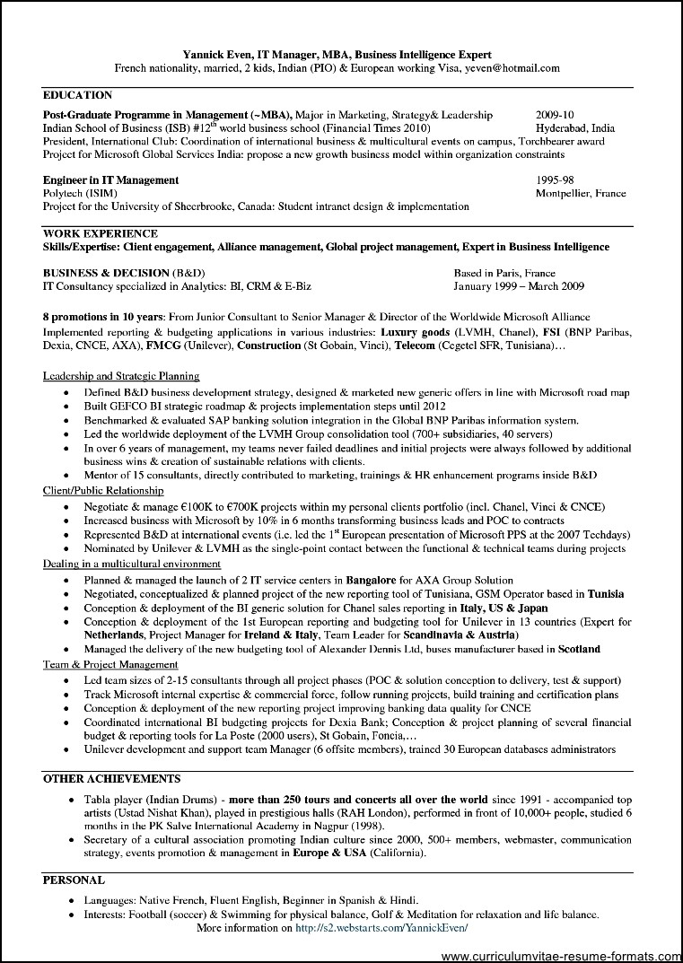 professional resume format for mba freshers  free samples