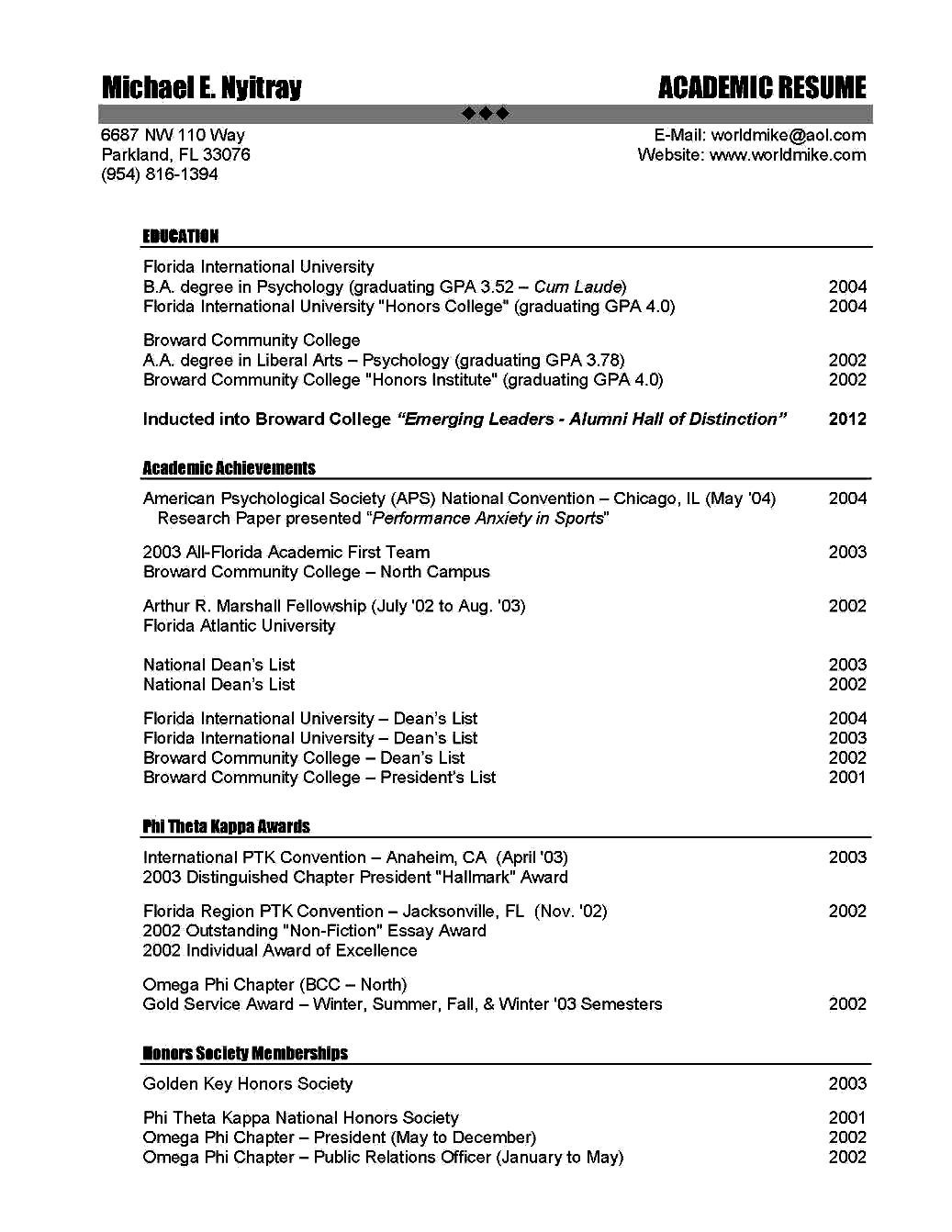 resume for academic position