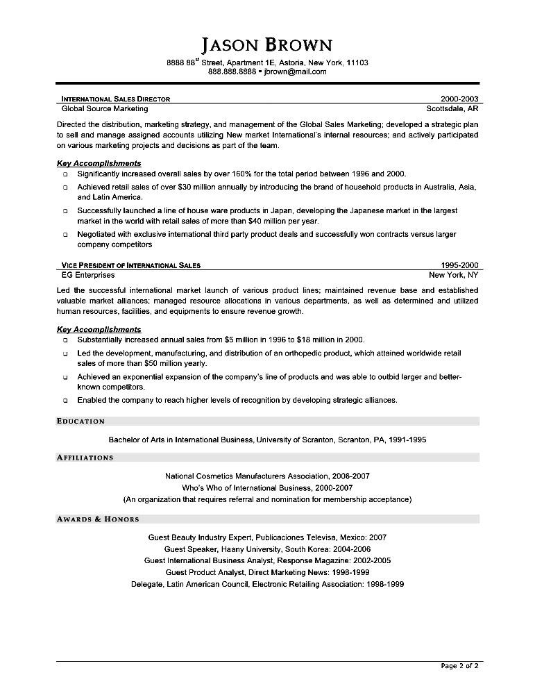 resume format for sales and marketing executive