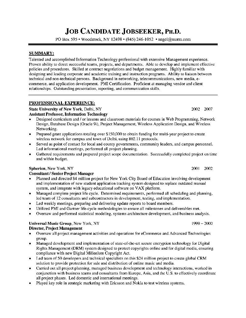 resume format for senior executive