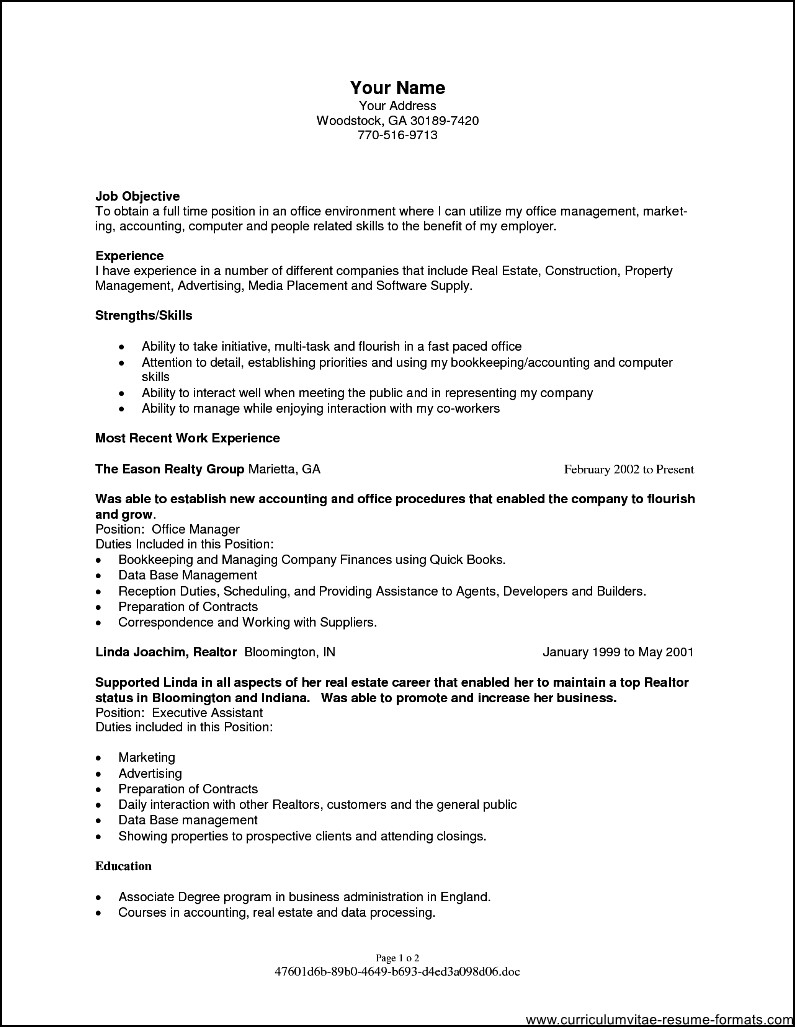 resume objectives for office manager