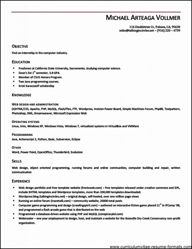 resume openoffice template