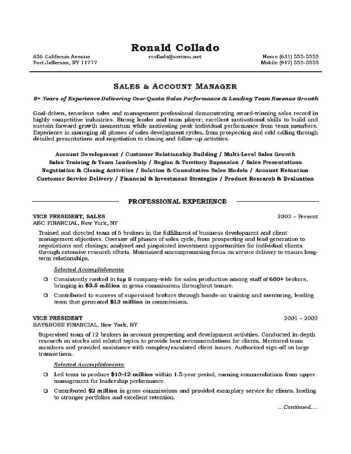 Sales Executive Resume Objective Free Samples