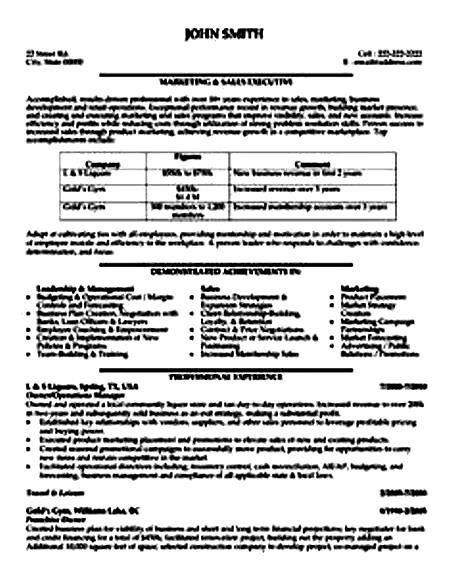 sales executive resume sample pdf
