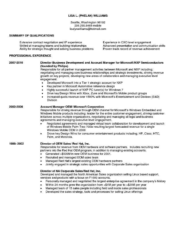 sample resume business development executive