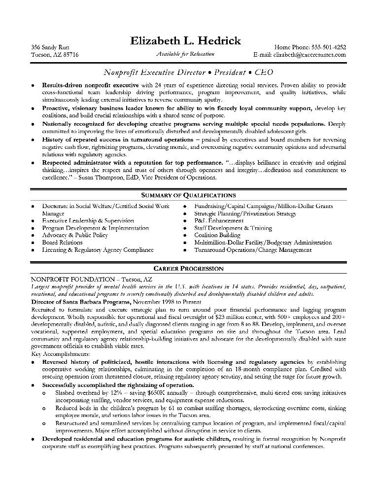 sample resume for executive position  free samples