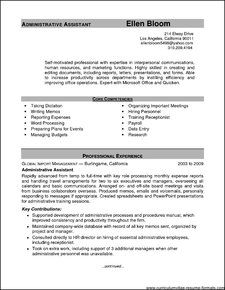 sample resume office assistant