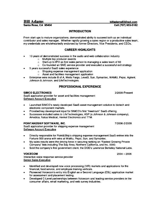 senior account executive resume