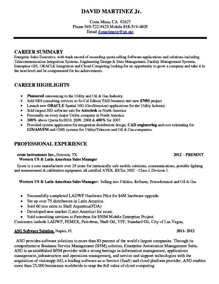Software sales executive resume free samples examples for Software executive resume
