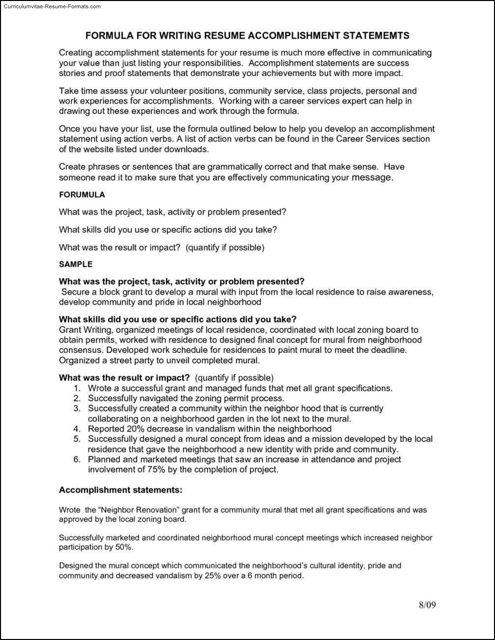 Accomplishment examples for resume