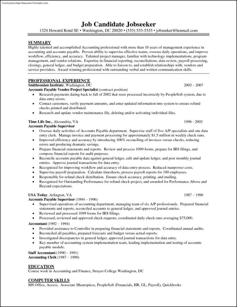 accounts payable resume template accounts payable resume templates free samples 20375