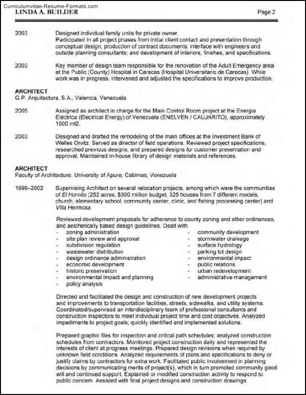 architect resume template  free samples  examples