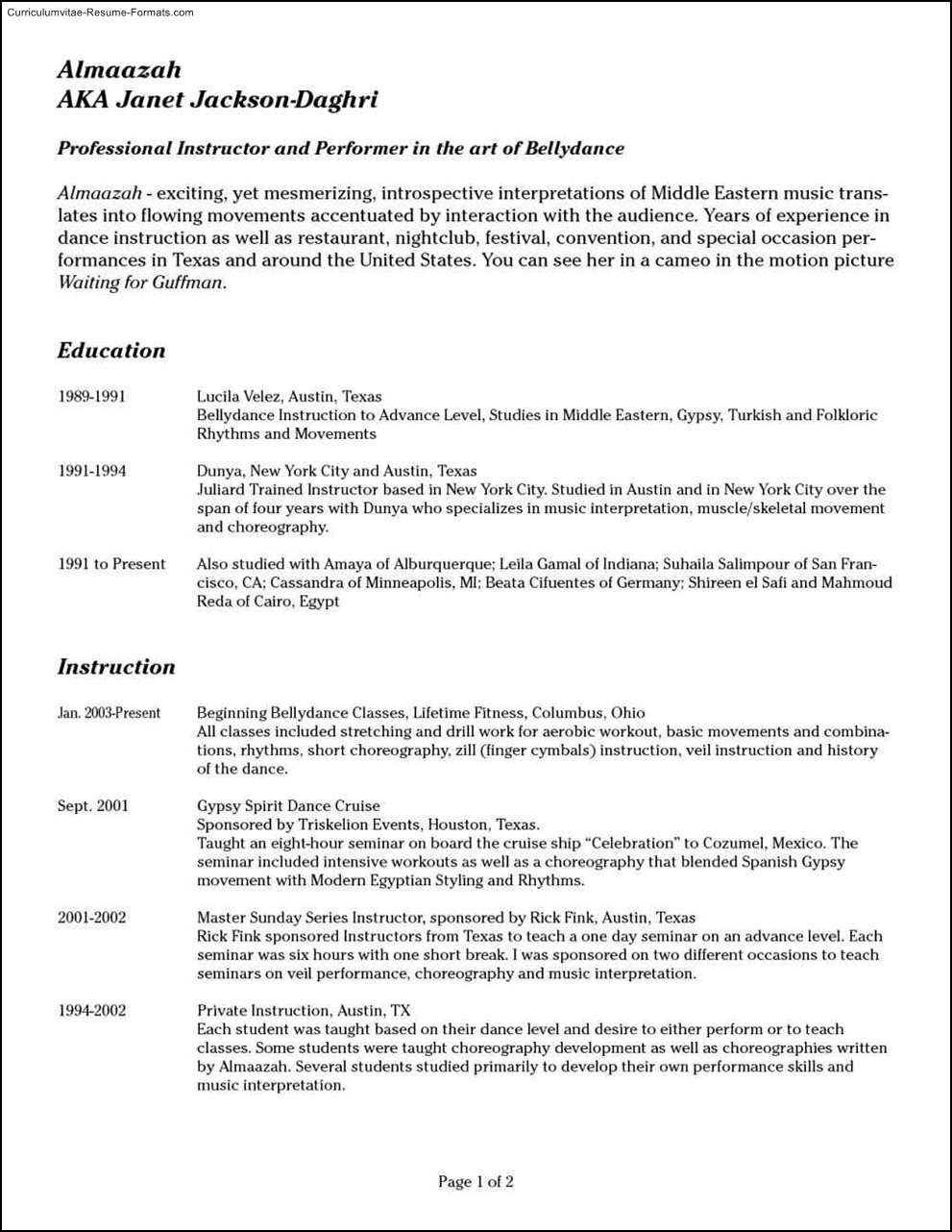 audition resume template - Audition Resume Format