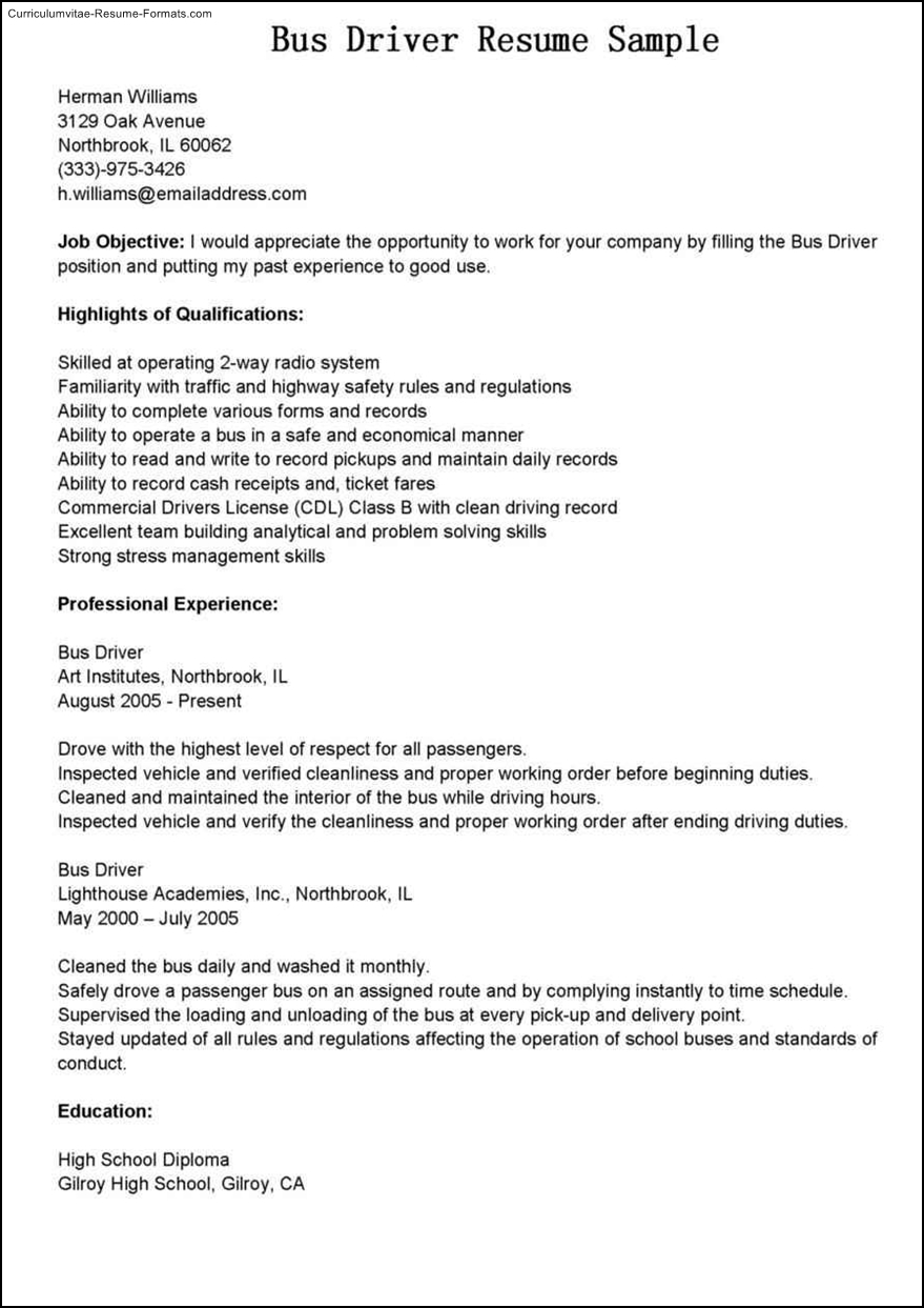 Bus Driver Resume Template   Free Samples   Examples