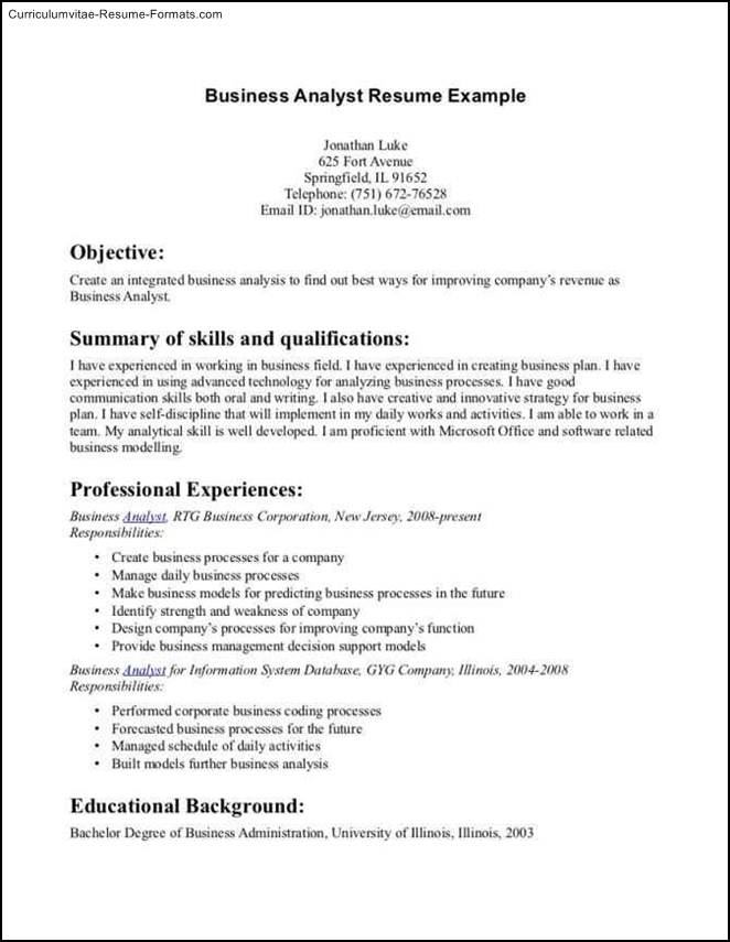 Business Administration Resume Template Free Samples