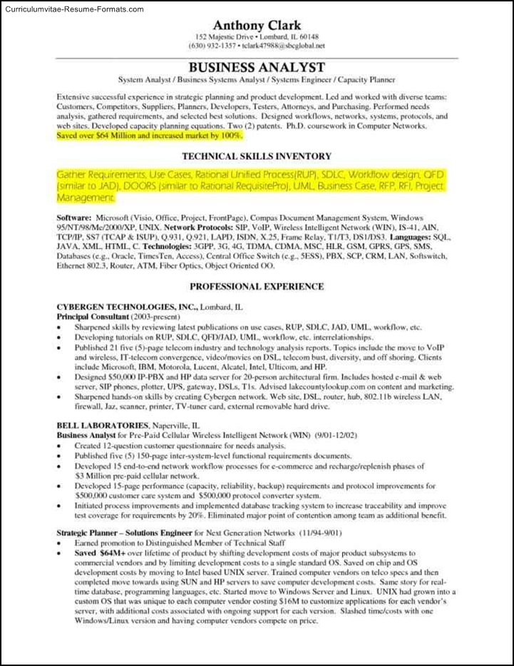 business analyst resume template word  free samples