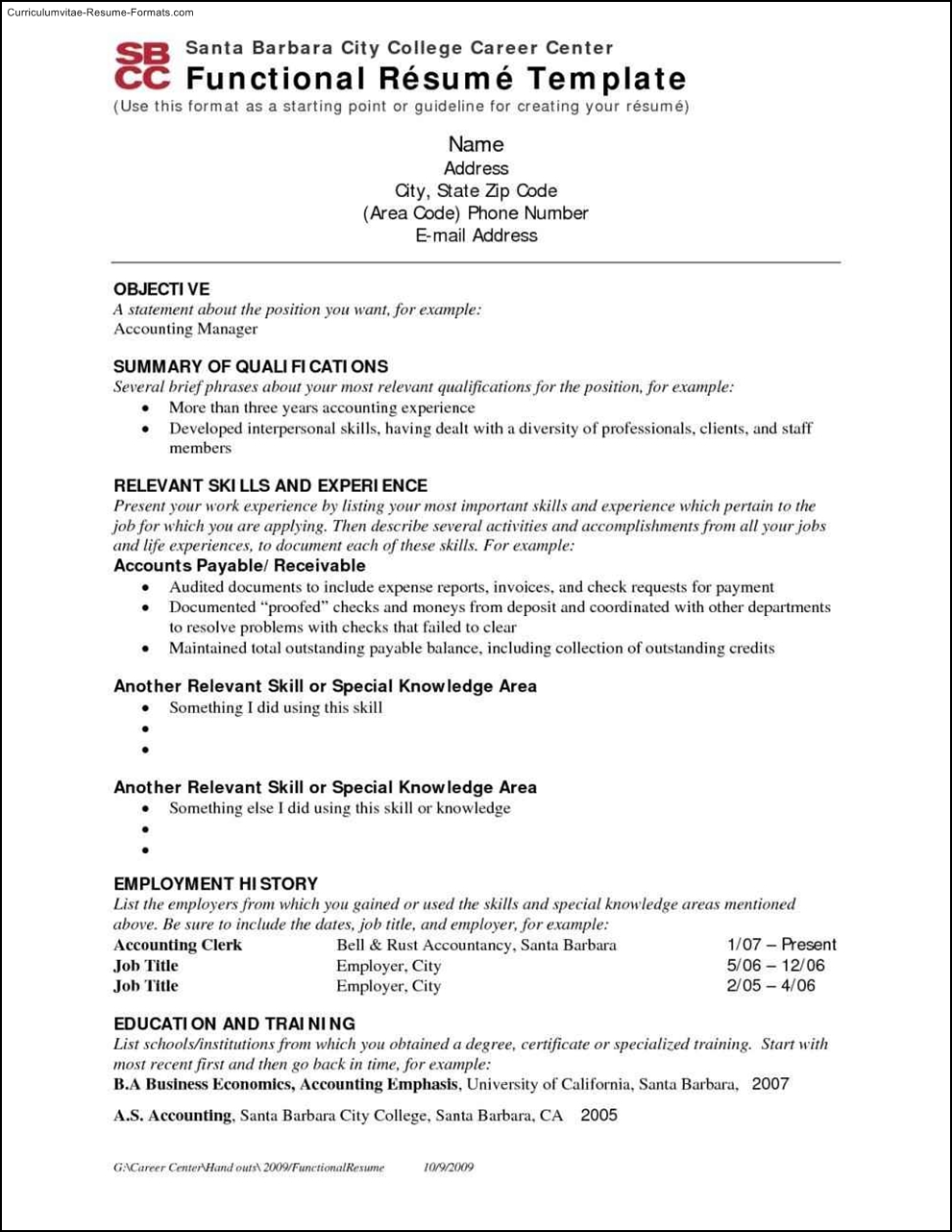 chrono functional resume template