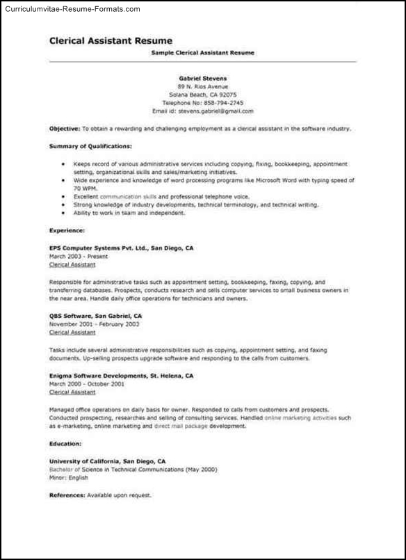 Clerical Resume Template Free Samples Examples