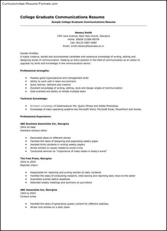 College Interview Resume Template Free Samples