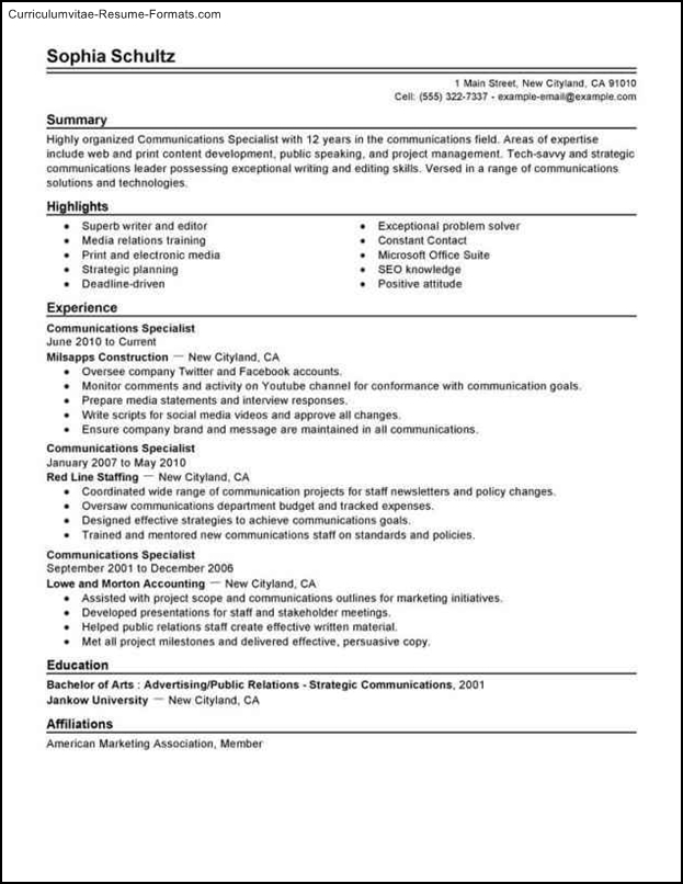communication resume templates  free samples  examples