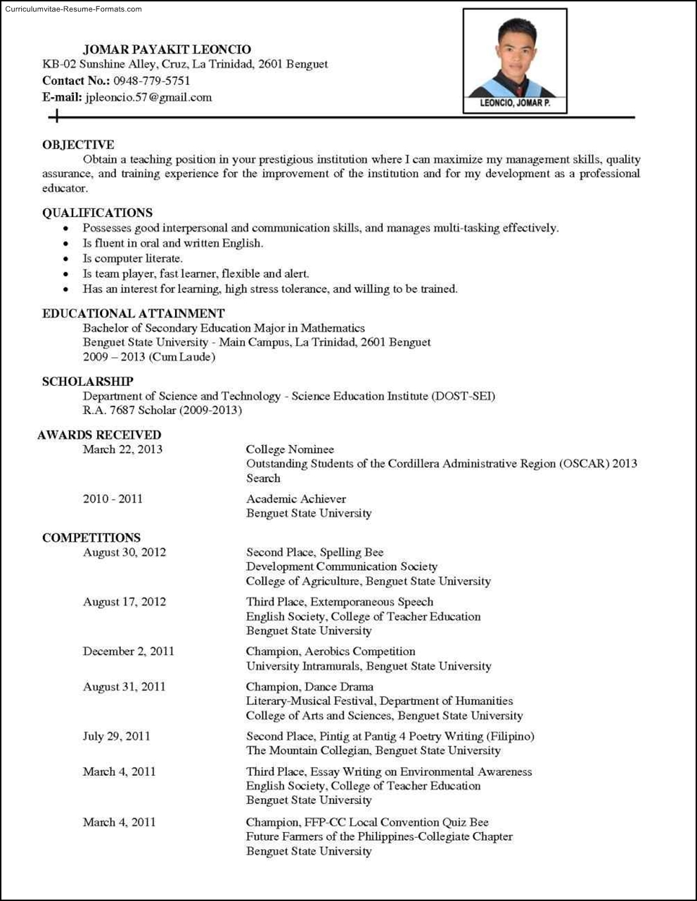 Comprehensive Resume Template Free Samples Examples