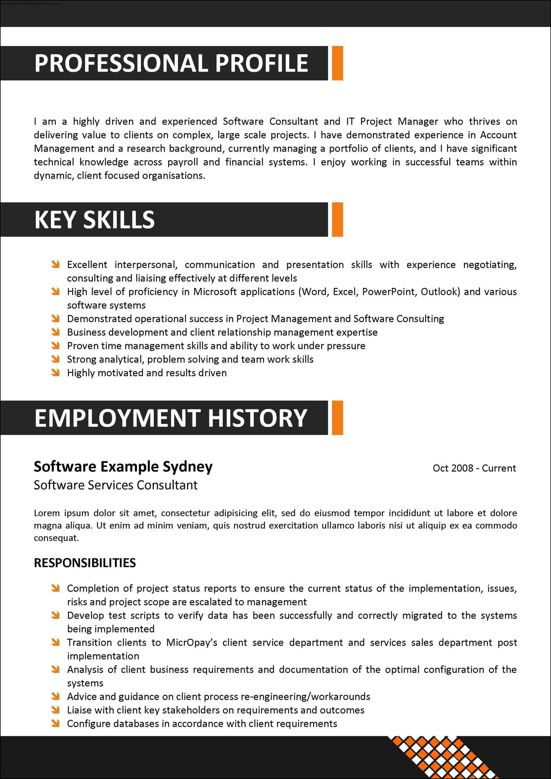Corporate Resume Templates Free Samples Examples