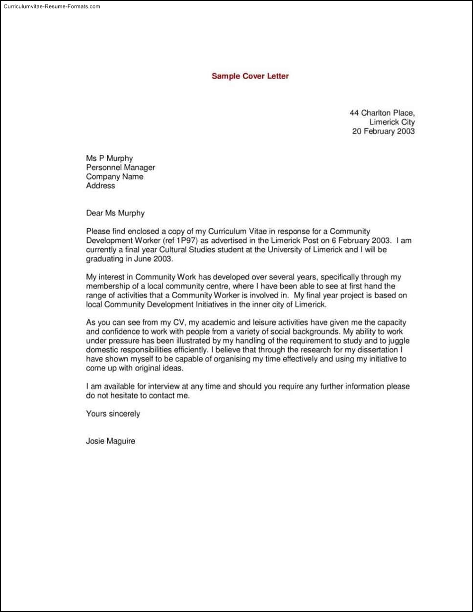 Curriculum vitae cover letter template